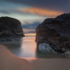 Bedruthan steps in the sunset